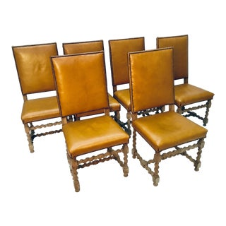 19th Century Vintage French Bleached Oak Dining Chair- Set of 6 For Sale