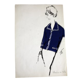Vintage Mid-Century French Fashion Drawing For Sale