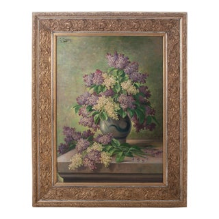 Mid 19th Century G. Corbier Oil Painting of Lilac Flowers with Carved Gilt Frame For Sale