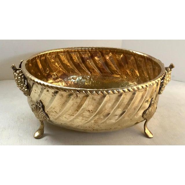 Hollywood Regency Vintage Mid Century Hammered Brass Planter For Sale - Image 3 of 7