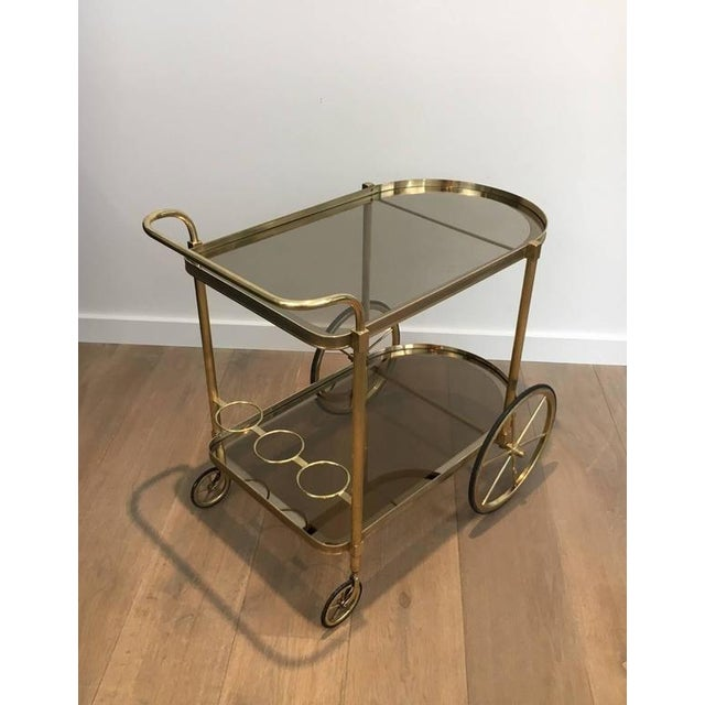 1960s French Brass and Smoked Glass Bar Cart - Image 3 of 11