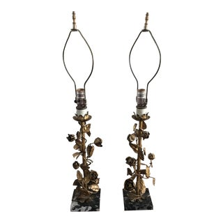 Vintage Italian Gold Gilt Lamps - A Pair