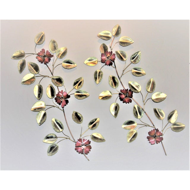 Mid-Century Modern Brass Enameled Floral Signed Wall Art - a Pair For Sale - Image 9 of 9