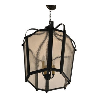 1980s Architectural Digest Large Wrought Iron and Vintage Glass Lantern For Sale