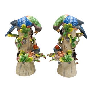 Large 20th Century Chinoiserie Blue and Green Majolica Parrots Bird and Nest Figurines - a Pair For Sale