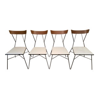 1950s Vintage Paul McCobb for Arbuck Group 76 Wrought Iron Chair Chairs- Set of 4 For Sale
