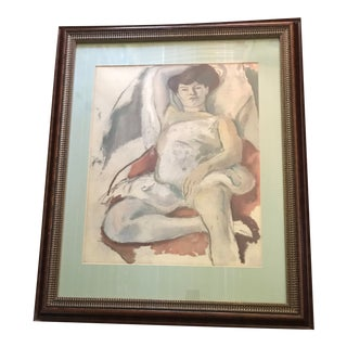 1960s Figurative Original Self Portrait Pastel Painting For Sale