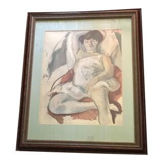 1960s Figurative Original Self Portrait Pastel Painting