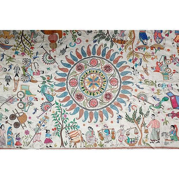 Asian Silk Kantha by Sreelata Sarkar For Sale - Image 3 of 8
