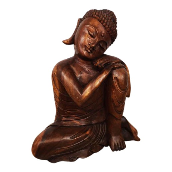 Hand Carved Thinking Buddha Statue Suar Wood Sculpture Bali Art For Sale