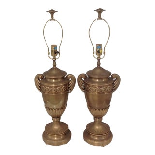 Chapman Signed Decorative Bronze Urn Form Lamps - a Pair For Sale