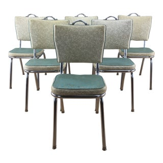 1950's Vintage Chrome Kitchen Dinette Chairs- Set of 6 For Sale