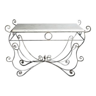 French Scrolled Iron Butcher / Pastry Table With White Marble Top For Sale