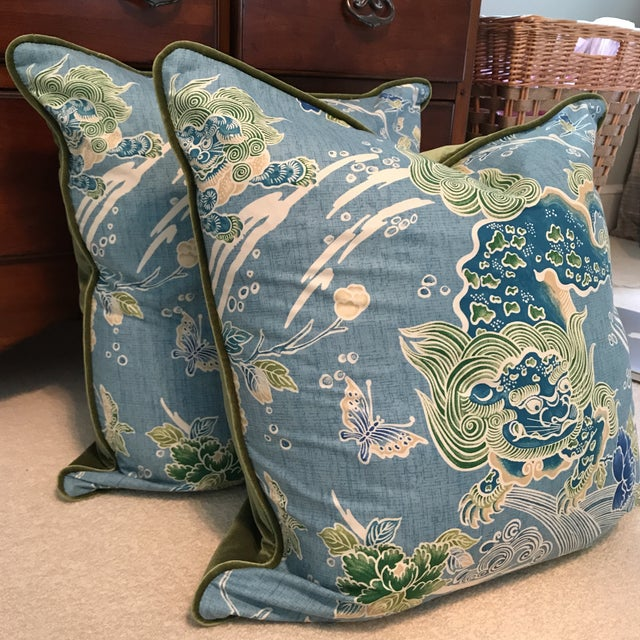 Brunschwig & Fils Shishi Turquoise Pillows - A Pair - Image 4 of 9