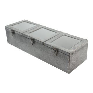 Three Window Zinc Storage/Display Box For Sale