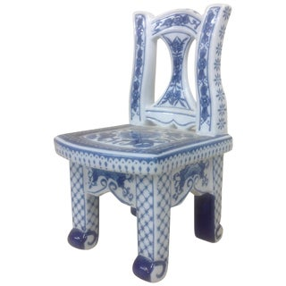 Chinese Porcelain Blue & White Chair Plant Stand For Sale