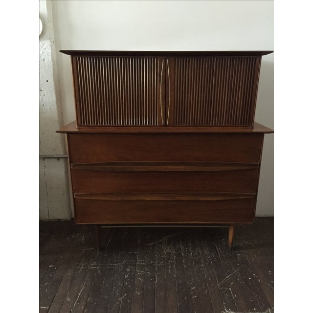 Mid Century Walnut Tall-Boy Chest - Image 2 of 9