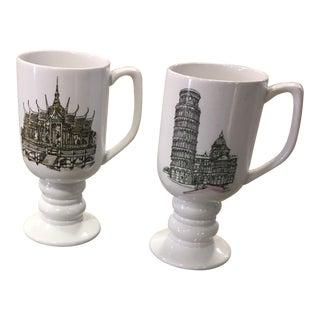 Vintage Ironstone China Motif Mugs - A Pair