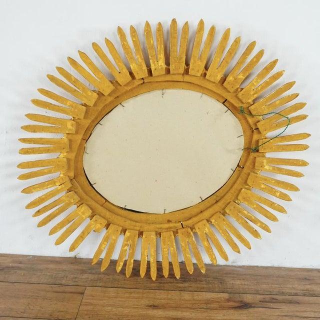 Hollywood Regency Giltwood Sunburst Mirror With Carved Frame For Sale - Image 3 of 6