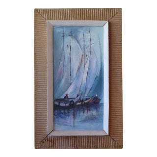 Haitian Art Sailboats Painting Signed in Original Carved Frame For Sale