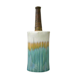 Modern Oval Shape Flat Tall Neck Ceramic Turquoise Bamboo Decor Vase For Sale