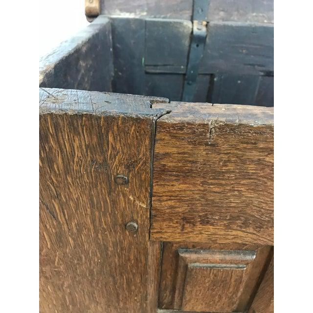 18th Century Primitive Oak Linen Coffer Chest - Image 12 of 13