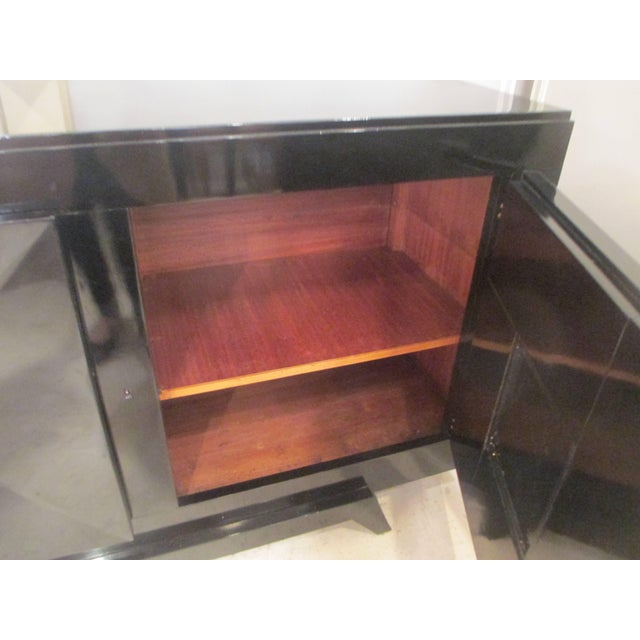 French Ebonized Sideboard with Parchment Doors For Sale - Image 4 of 13