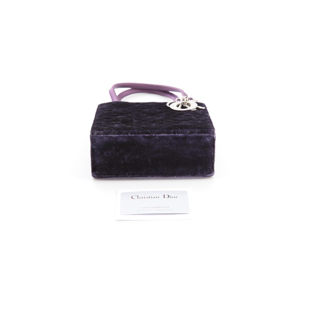 Early 20th Century Petite Christian Dior Lady Dior Bag - Crushed Purple Velvet and Crystal Embellished For Sale - Image 5 of 6