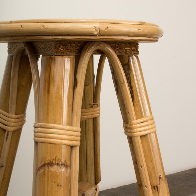 Tan Modern Bamboo and Rattan Stool For Sale - Image 8 of 10
