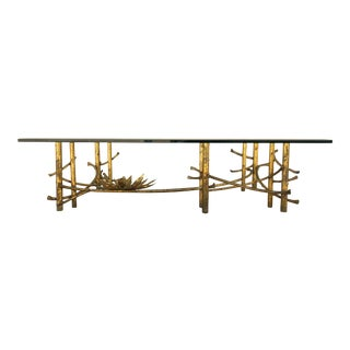Original Brutalist Gilded Wrought Iron Lotus Flower Coffee Table