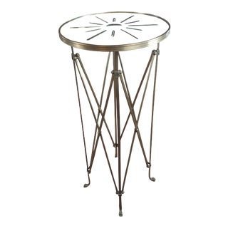 French Director Empire Campaign Bronze Tall Side Table W/Glass Top For Sale