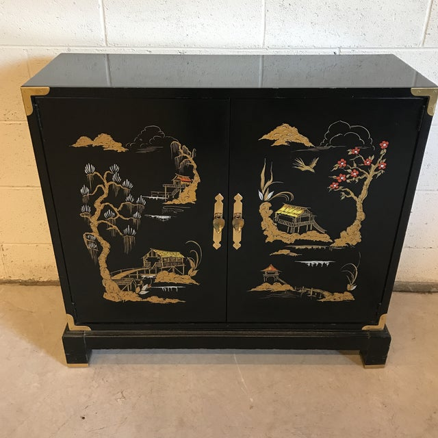 Asian Chinoiserie Style Black Lacquered Cabinet - Image 2 of 9