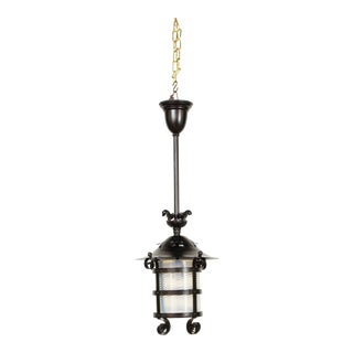 Iron and Blue Swirled Glass Gas Lantern For Sale
