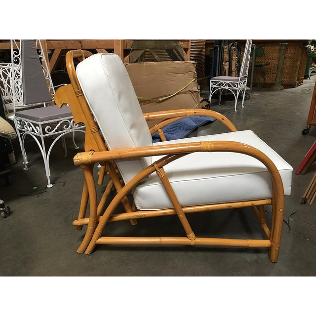 Restored 1949 Rattan Reclining Lounge Chair With Arched Arms For Sale - Image 4 of 8