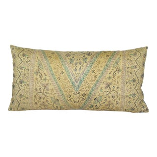 Hand-Drawn Javanese Floral Batik Silk Bolster Pillow Cover For Sale