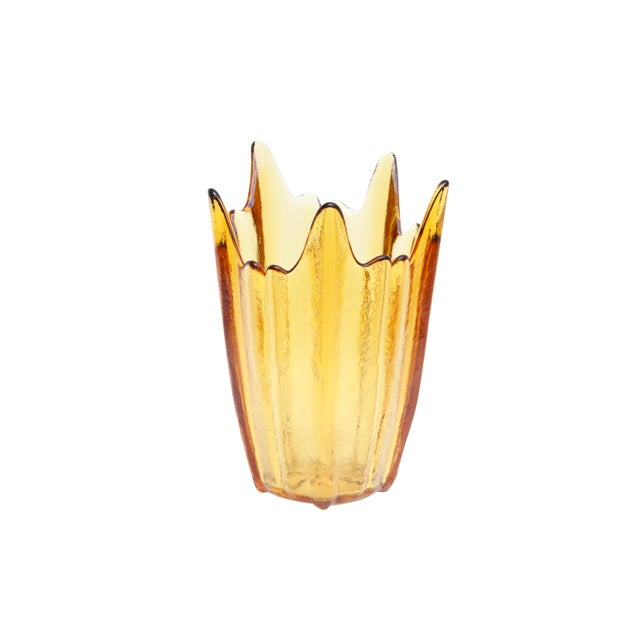 Mid 20th Century Amber Glass Vases, Set of 3 For Sale - Image 5 of 11