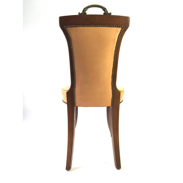 Regency Style Brass Handle Leather Chair - Image 6 of 8