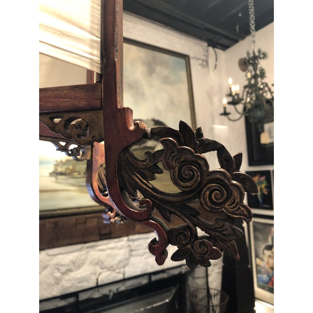 Antique Painted Carved Wood and Silk Japanese Candle Lantern For Sale In Atlanta - Image 6 of 13