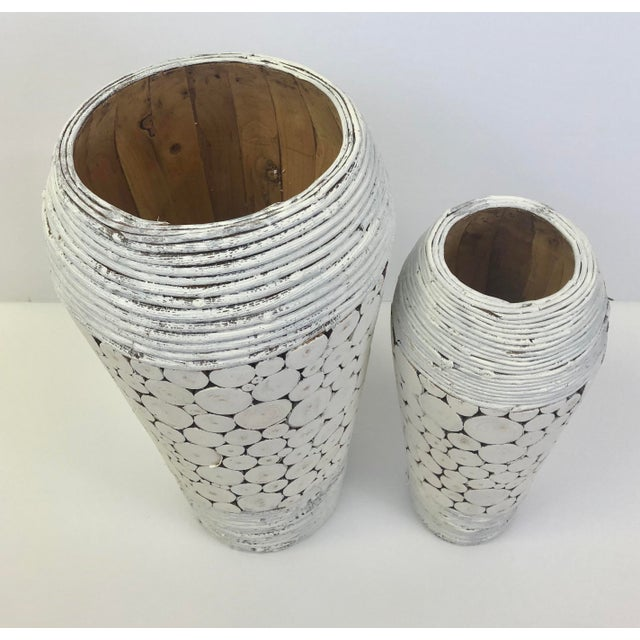 White Wooden Vase or Umbrella Stand - a Pair For Sale - Image 4 of 5