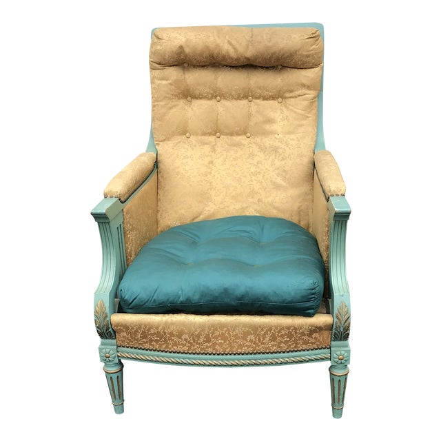 Antique Victorian Turquoise and Gold Upholstered Chair For Sale