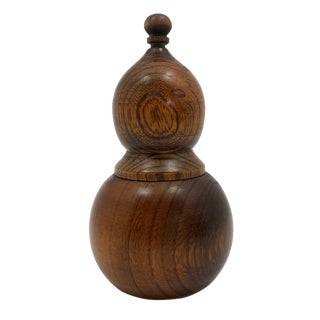 Rounded Treen Box With Threaded Top For Sale