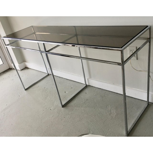 Milo Baughman Chrome and Smoked Glass Console For Sale In Miami - Image 6 of 6