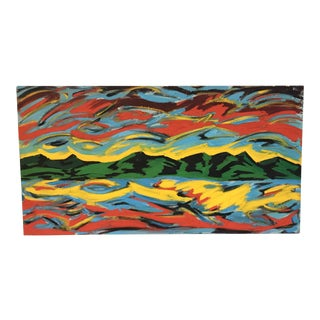 "1980's ""Quakely Coast"" Colorful Abstract Landscape Signed Painting"