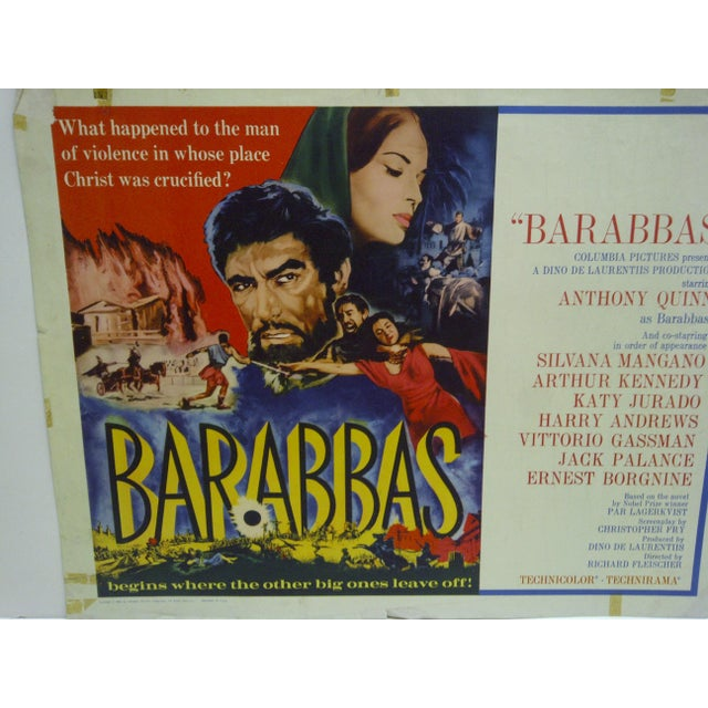 """American 1962 Vintage """"Barabbas"""" Movie Poster For Sale - Image 3 of 4"""