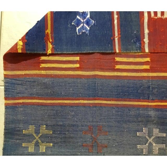 "Moroccan Cactus Silk Flat Weave Kilim Runner Rug - 25"" x 108"" - Image 10 of 11"