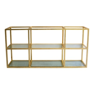Custom Steel and Gold Leafed Wall Mounted Shelf or Console, Circa 2014 For Sale
