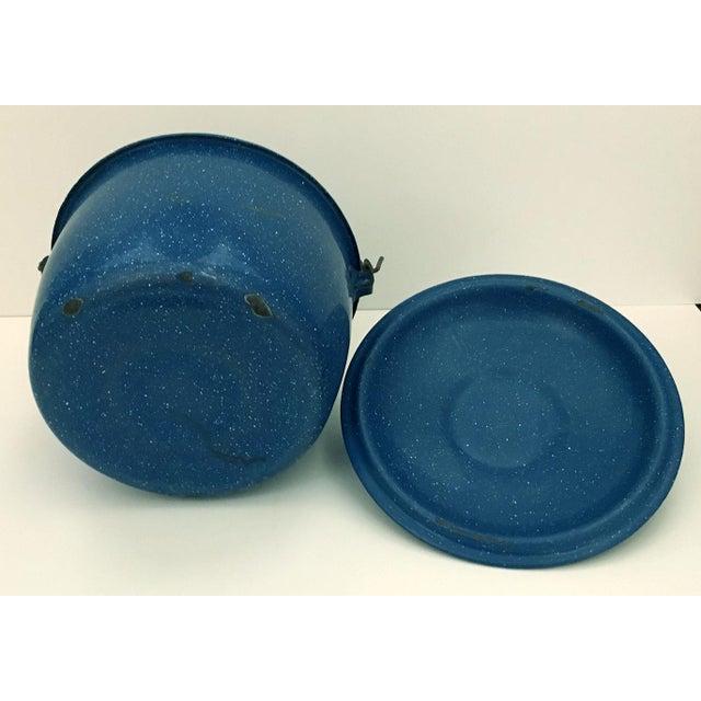Adirondack 1950s Vintage Blue Enamelware Pot For Sale - Image 3 of 4