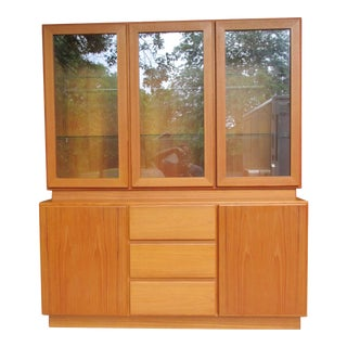 Mobican Teak Lighted China Cabinet or Hutch