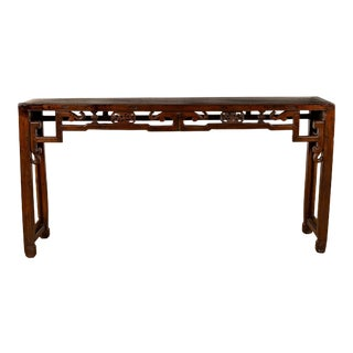 Chinese Narrow Altar Console Table with Open Fretwork Frieze and Horse Hoof Legs For Sale