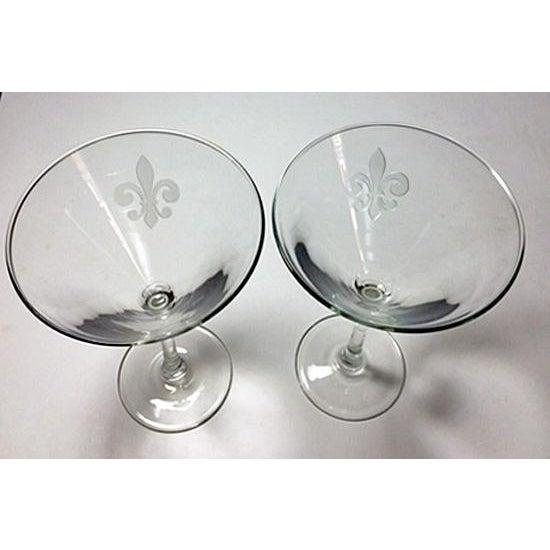 Fleur De Lis Etched Martini Glasses - a Pair For Sale - Image 4 of 5